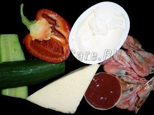 ингредиенты для сырных корзиночек с креветками