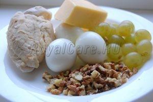 ингридиенты салат с курицей и виноградом